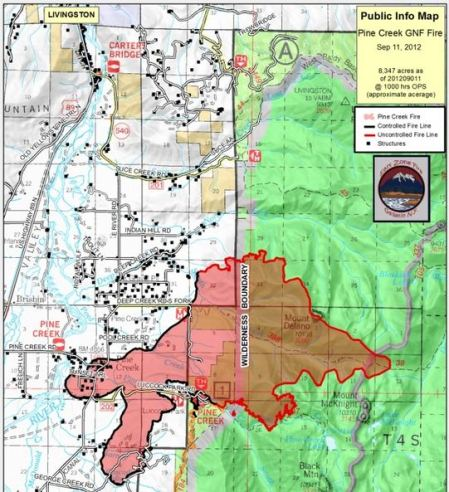 Map of Pine Creek Fire