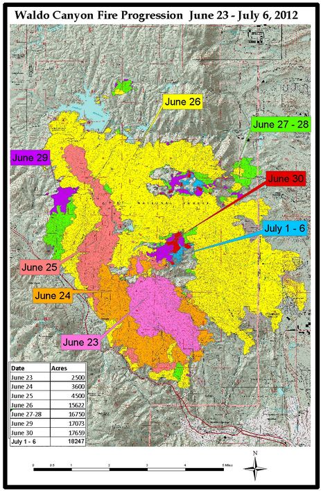 Waldo Canyon Fire progression map