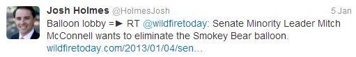 "Josh Holmes' tweet, ""balloon lobby"""