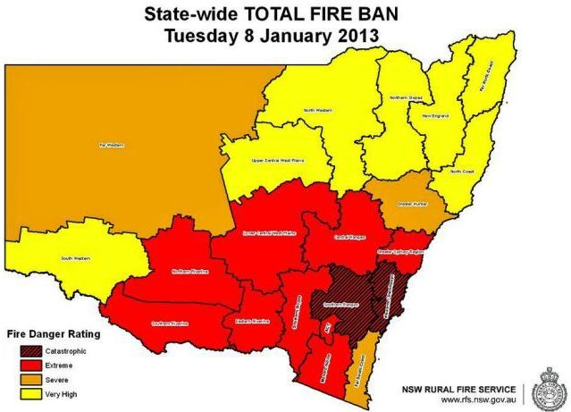 NSW fire danger January 8, 2013