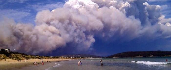 Pyrocumulus near Hobart, Tasmania