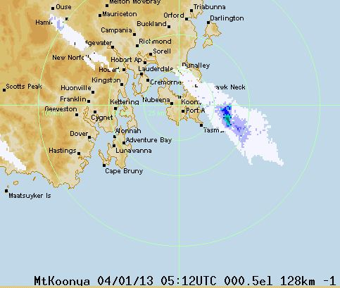 Smoke from Tasmania fires, detected by weather radar