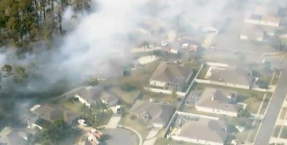 Aerial imagery of fire in Port Orange, FL