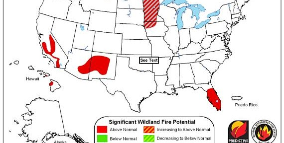 Wildfire potential, May-June 2013