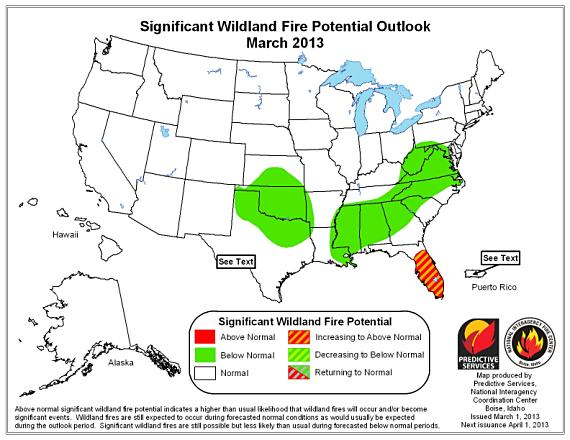 Wildfire potential, March 2013