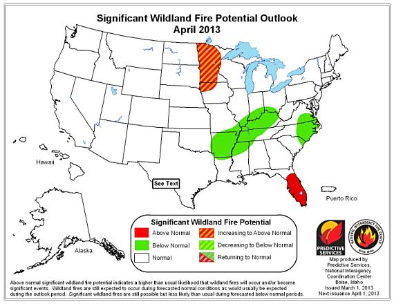 Wildfire potential, April 2013