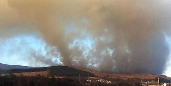 Wildfire in Scotland near Corpach