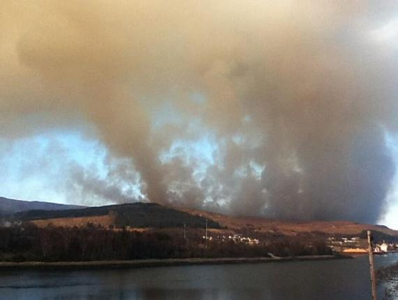 Fire in Scotland. Corpach.