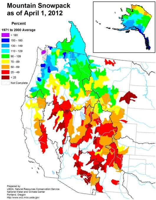 Mountain snowpack, April 1, 2012