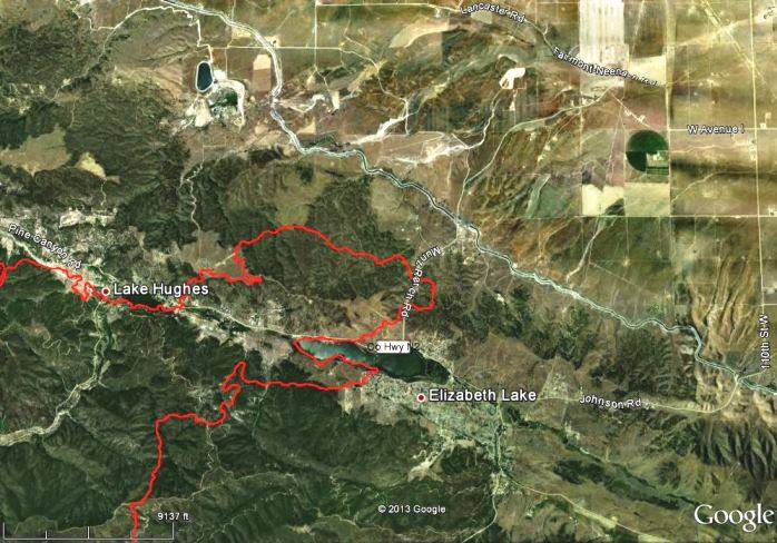 Map of Powerhouse Fire, 11 p.m. PT, June 1, 2013. The fire has reached and burned past Lake Elizabeth and Lake Hughes. (click to enlarge)