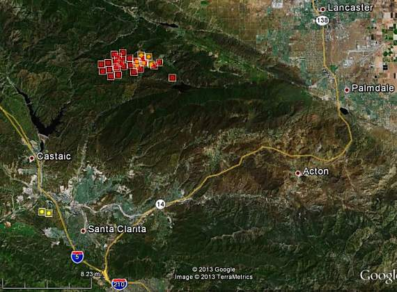 Map of Powerhouse Fire, 1220 pm PT, May 31, 2013