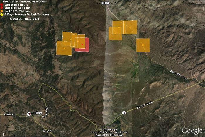 Map of San Felipe Fire Anza Borrego