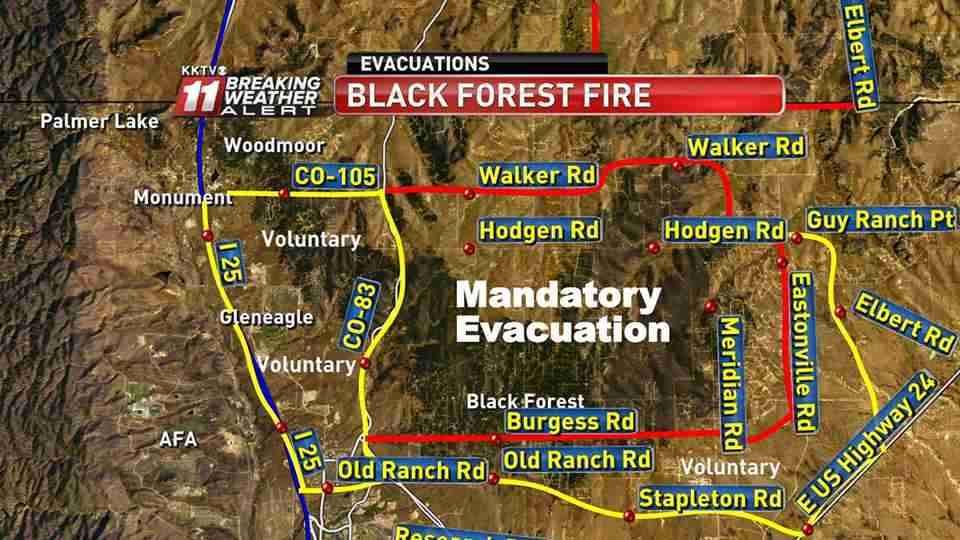 Evacuation areas, Black Forest Fire