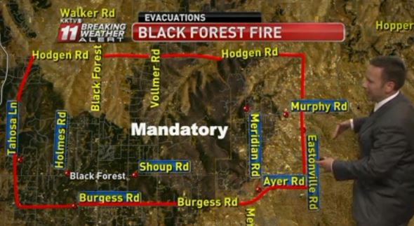 Black Forest evacuation areas 10:39 p.m. 6-11-2013