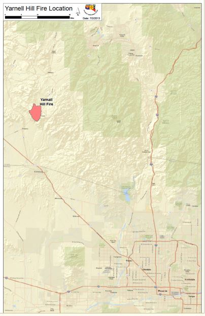map of Yarnell Hill Fire, July 3, 2013
