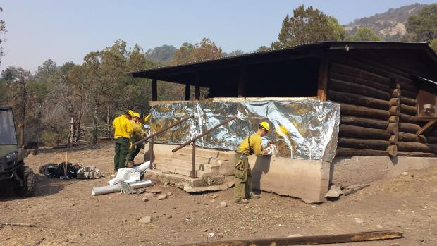 wrapping cabin on Silver Fire