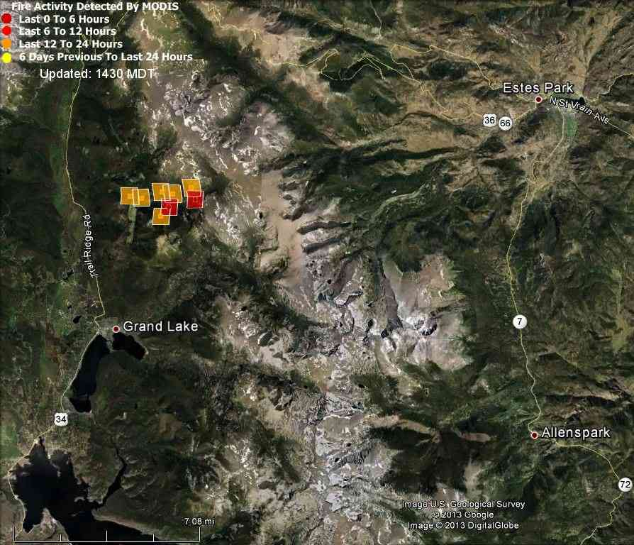 Map of Big Meadow Fire, 1:43 p.m. MT,  6-12-2013