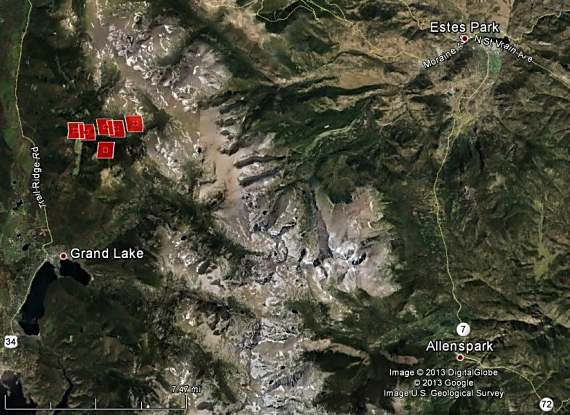 Map of Big Meadow Fire, 2:40 p.m. MT, June 11, 2013