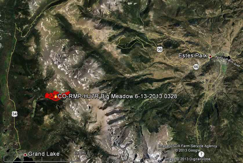 Map of Big Meadow Fire
