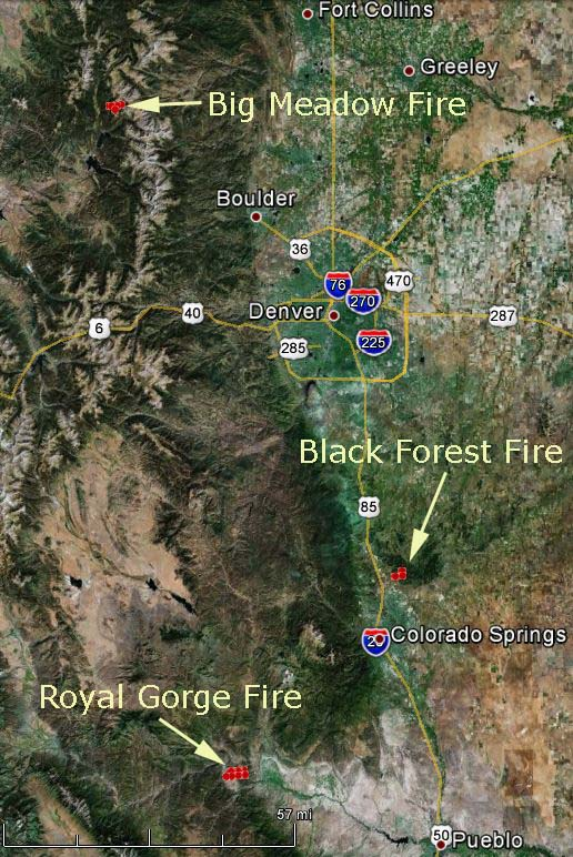 Map of Colorado fires