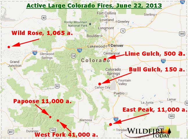 Map of Colorado wildfires, June 22, 2013 - Wildfire Today
