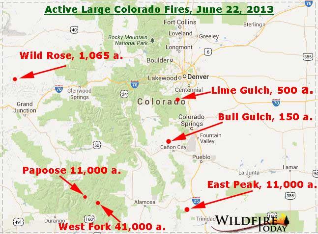 Wildfires In Colorado Map Map of Colorado wildfires, June 22, 2013   Wildfire Today