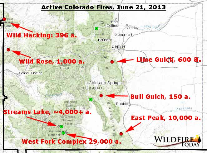 Map of active fires in Colorado, June 21, 2013