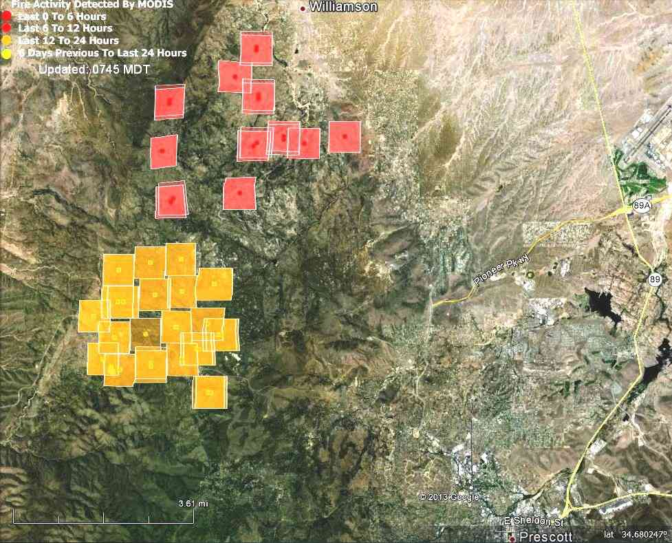 Map of Doce Fire at 12:08 a.m. MDT, June 19, 2013   Wildfire Today