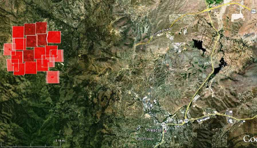 Map of Doce Fire near Prescott
