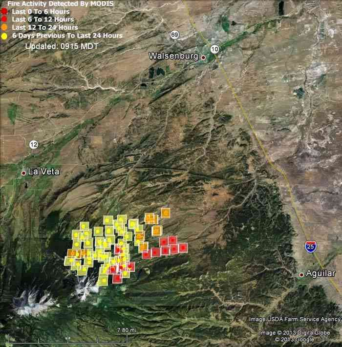 Map of East Peak Fire