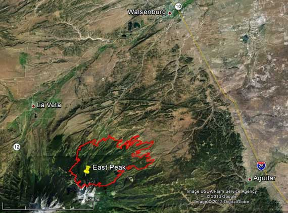 Map of East Peak Fire, 2 a.m. MDT, June 23, 2013