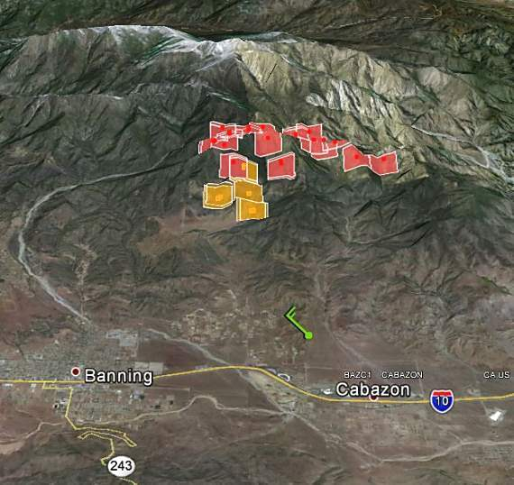 Map of Hathaway Fire, 3:30 a.m. PT, June 10, 2013