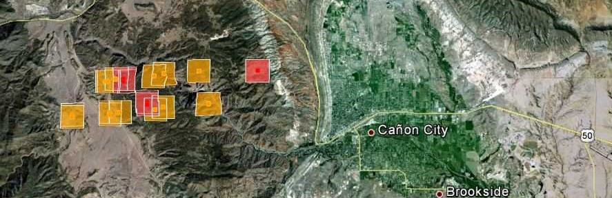 Map of Royal Gorge Fire, 10:25 p.m. MT, June 11, 2013