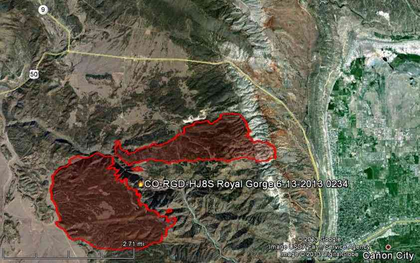 Map of Royal Gorge Fire