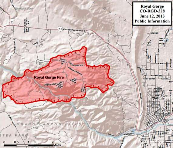 Map of Royal Gorge Fire, 6-12-2013