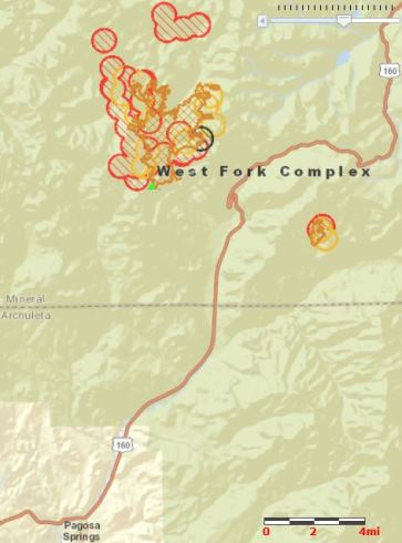 Map of West Fork Complex, 11:12 p.m. MDT, June 19, 2013