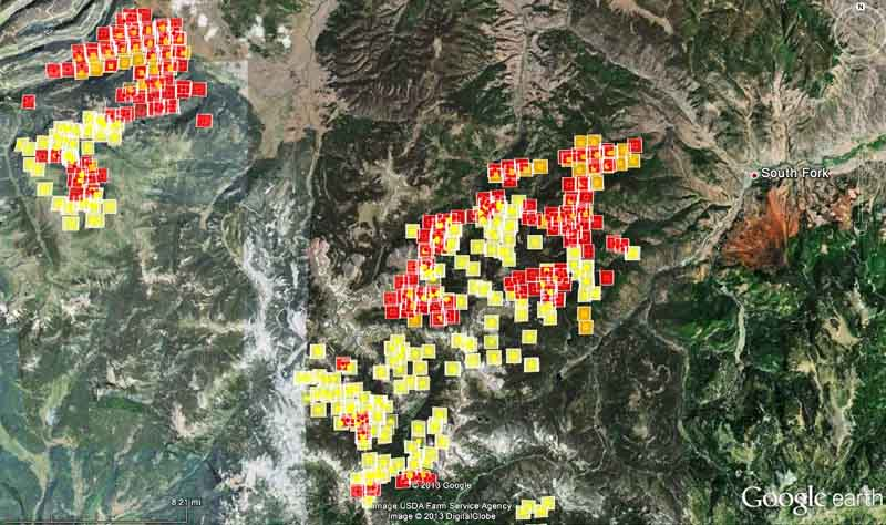 Map of West Fork Fire, 2:20 p.m. MDT, June 22, 2013