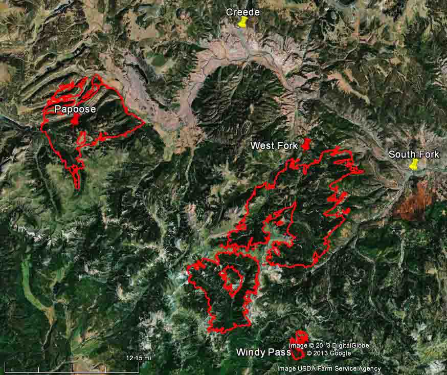 Map of West Fork, Windy Pass, and Papoose Fires