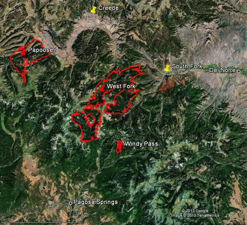 Map of West Fork, Windy Pass, and Papoose Fires, 12:30 a.m. MDT, June 23, 2013 (click to enlarge)