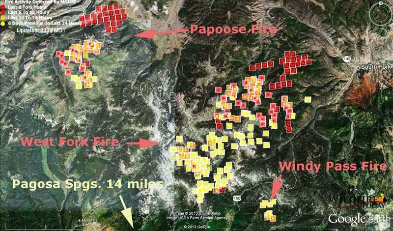 Map of West Fork and Papoose Fires