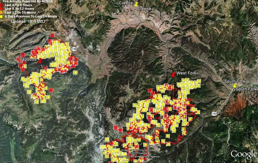 Map of West Fork and Papoose Fires, 3:05 p.m. MDT, June 23, 2013