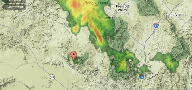 Radar at 5 pm MDT, June 30, 2013 The pointer is at Yarnell, Arizona.