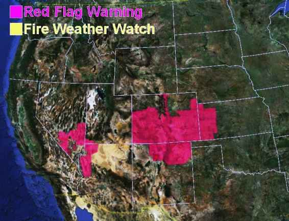 wildfire Red Flag Warnings, June 11, 2013