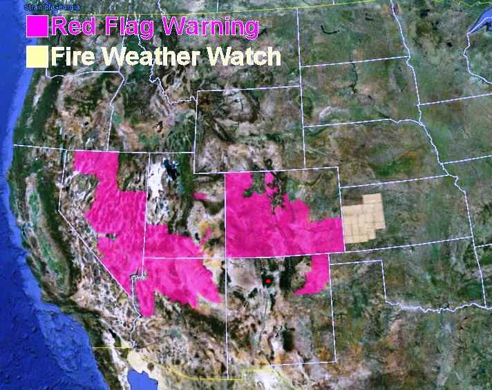 wildfire Red Flag Warnings, June 13