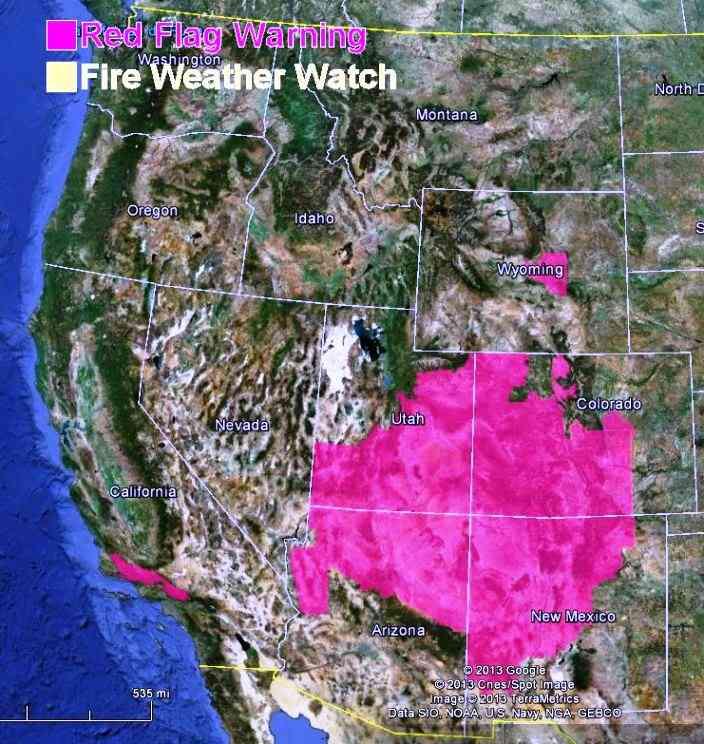 Red Flag Warnings fire June 20, 2013