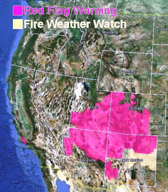 Red Flag Warnings wildfire, June 21, 2013