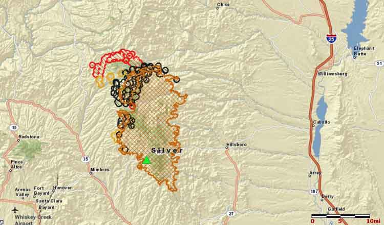 Map of the Silver Fire at 3:18 a.m. MDT, June 29, 2013. The red areas were the most recently burned. (click to enlarge)