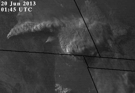 West Fork Fire plume, 1:45 UTC, June 20, 2013
