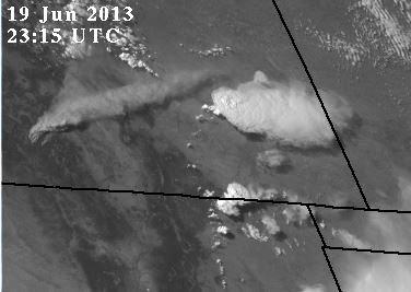West Fork fire plume, 2315 UTC, June 19, 2013
