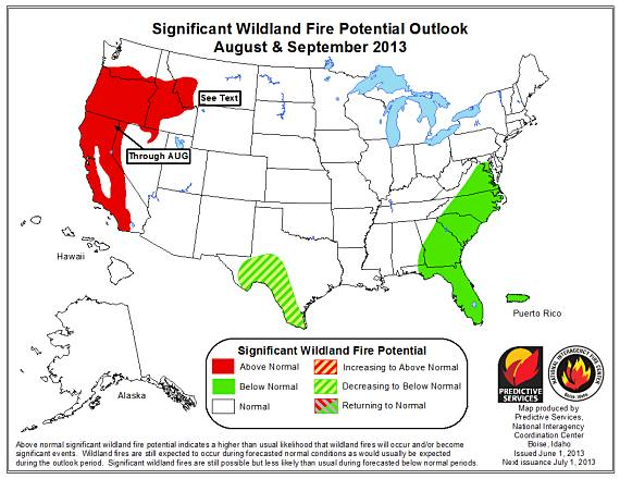 Wildfire outlook August September